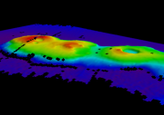 Australian scientists looking for larval lobsters discovered a group of underwater volcanoes, shown in the relief map above. Credit: Australia's Marine National Facility